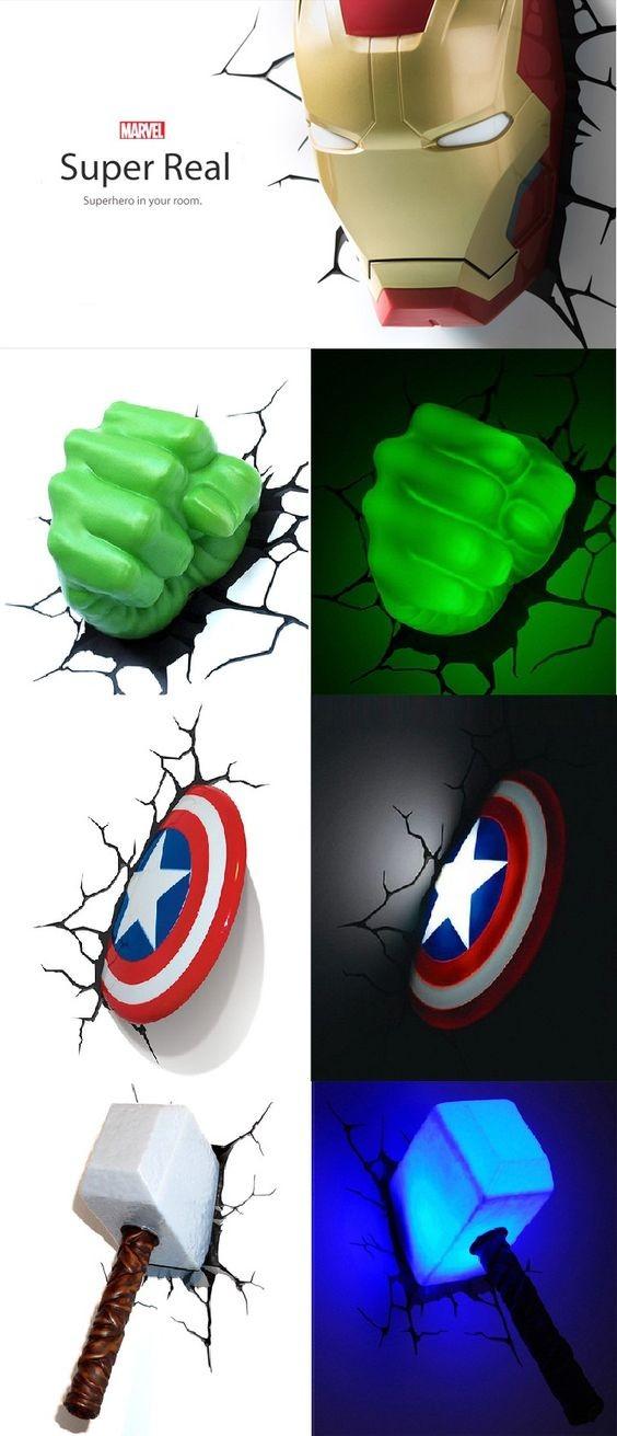 Marvel Superhero 3d Wall Nightlights Thinkgeek