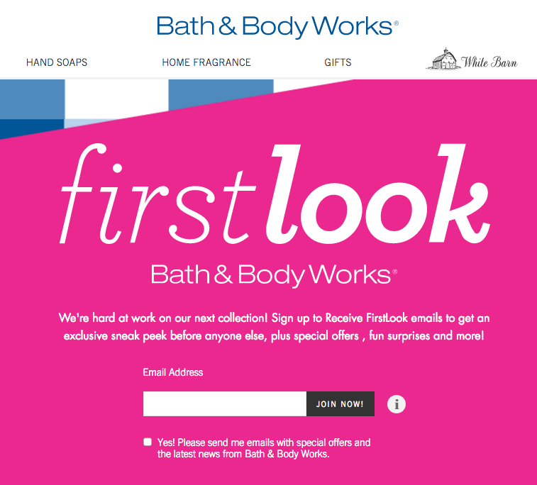 Sign up for bath and body works coupons