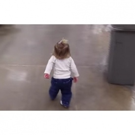 Little Girl Greets Everyone At Grocery Store