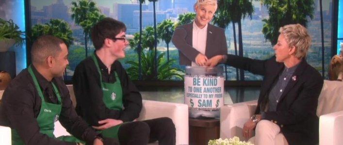 Sam The Dancing Barista, Meets Ellen!
