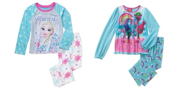 Girls' 2-Piece Character Pajama Sets $4.50 @ Walmart