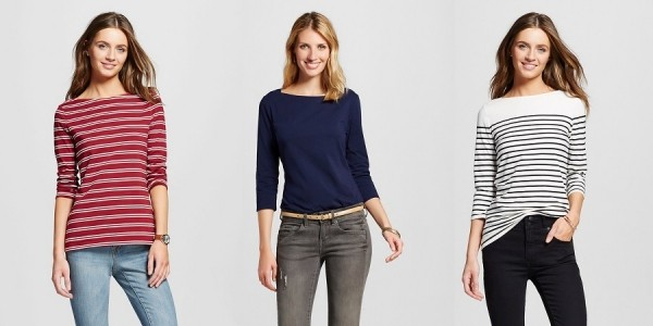 Merona Women's Boatneck Striped Tees Only $3.60 @ Target