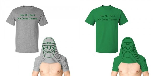 "Men's ""Ask Me About My Lucky Charms"" St. Patrick's Day T-Shirt $15 @ Tanga"