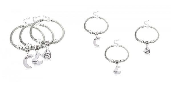 3 Piece Big, Middle, Little Sister Bracelet Set $10.99 @ Amazon