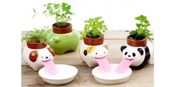 Self Watering Animal Planter With Seeds $3.63 @ eBay