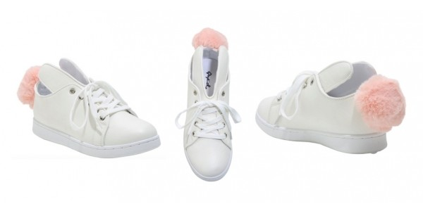 Girls White Bunny Lace Up Sneakers $23 @ Hot Topic
