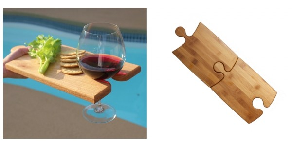2-In-1 Bamboo Puzzle Party Wine Glass Platters $14.99 @ eBay