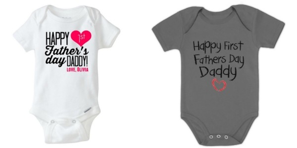 Personalized Happy 1st Father's Day Daddy Onesies $11 @ Etsy