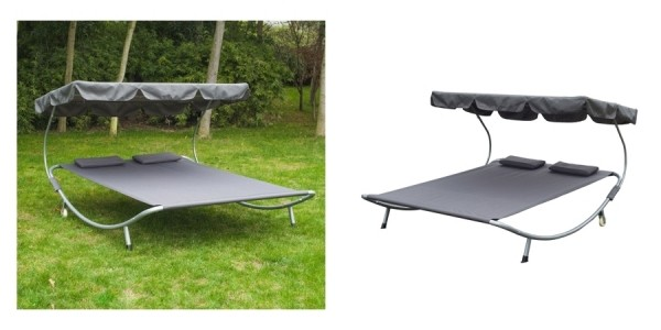 Outsunny 2-Person Sun Lounger with Canopy & Pillows $90 Shipped @ eBay