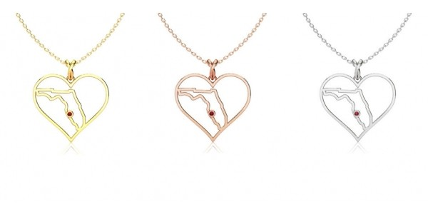 I Love Florida Gold Heart Necklace $15 Shipped ($10 Of Price Donated) @ SuperJeweler