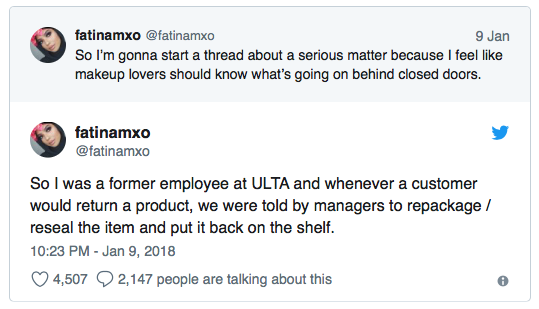 ULTA Beauty Cosmetics Lawsuit - Former Employees Tweet Claims
