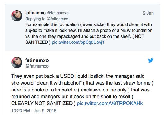 ULTA Used Cosmetics Class Action Lawsuit - Former Employee Tweet