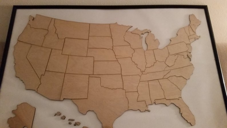 USA Pieces and Matching Map Puzzle Only $55 @ Etsy